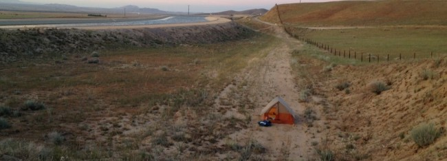 John Bianco is camping out along his long trek from Mexico to Oregon.