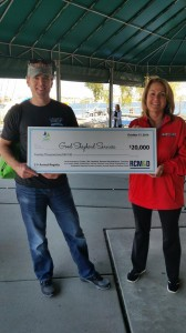 Right: Bobby Baird, GSS VP for Financial Services and Michele Wyman, interim CEO of GSS, accept a check for $20,000 from RCM&D following the regatta on October 17.